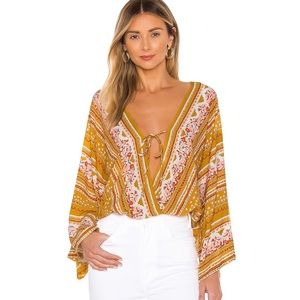 Free People For You Floral Gold Lace Bodysuit L